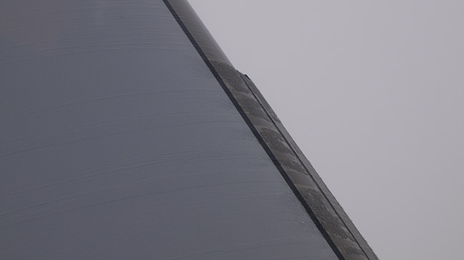 The TKS system makes use of a porous titanium leading edge through which deicing fluid is pumped. Here you can see the fluid melting the ice off the leading edge. The system is expensive to install, adds drag and weighs a lot, thanks to the deicing fluid.