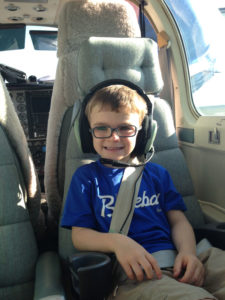 Brayden on a compassion flight