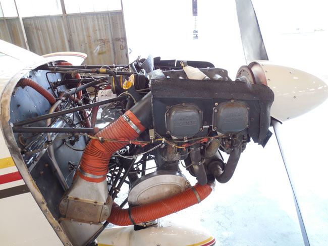 Aircraft engine with cowling removed for annual inspection