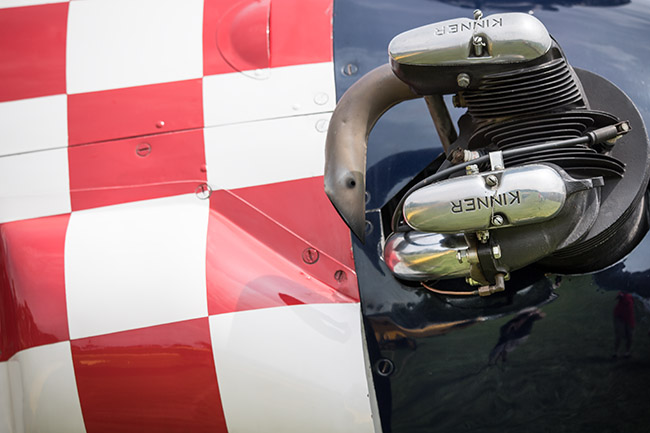 Red, white and blue cowl of a PT-22