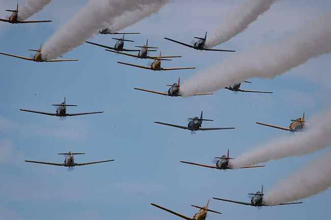 Warbird formation fly-by