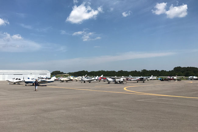 Aircraft parked on the KCKV ramp before the eclipse