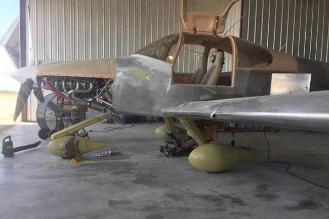 RV 10 in hangar before Harvey