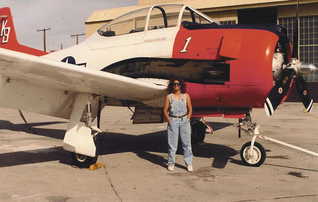 Patty Wagstaff with Evergreen T-28 warbird