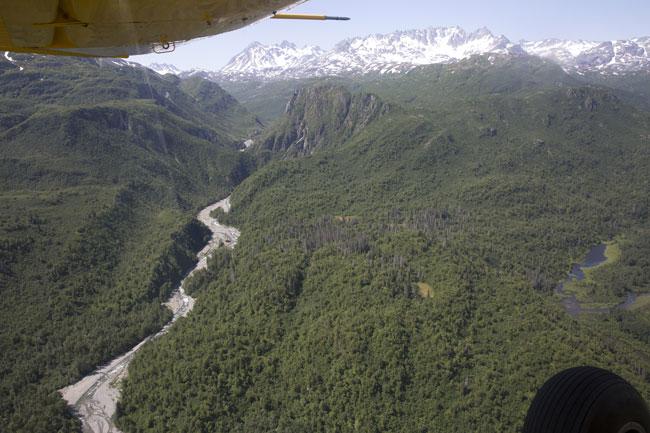 Flight over the Alaskan wilderness