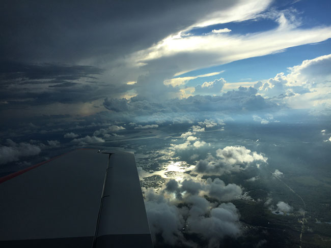 Hurricane sky from the air