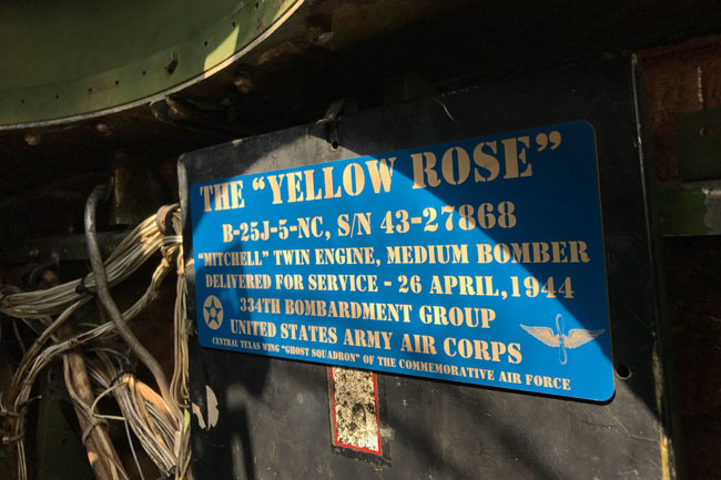 "Placard on the North American B-25 bomber ""Yellow Rose"""