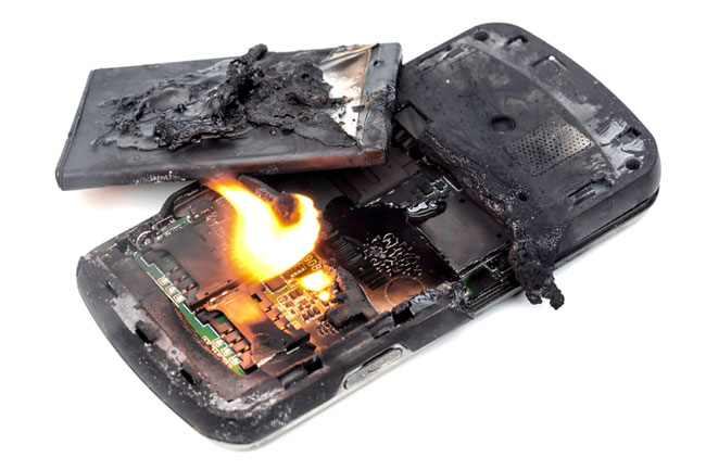 Fire containment products are made to deal with issue like this cellphone on fire