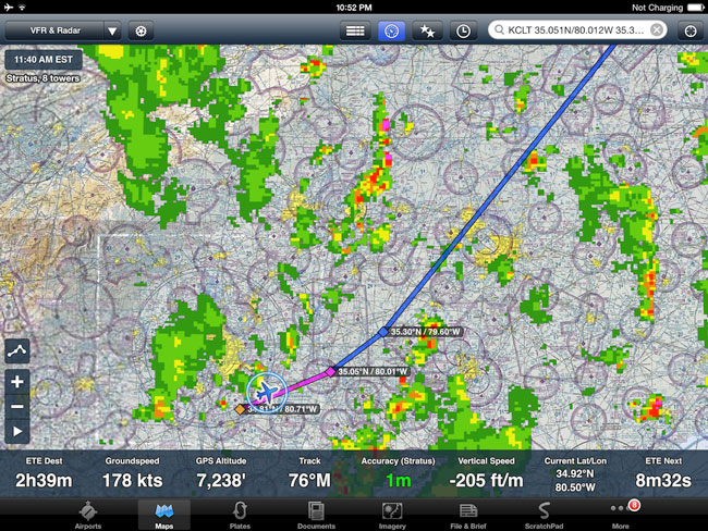 ForeFlight weather display