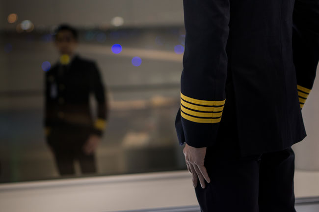 Pilot looking in mirror