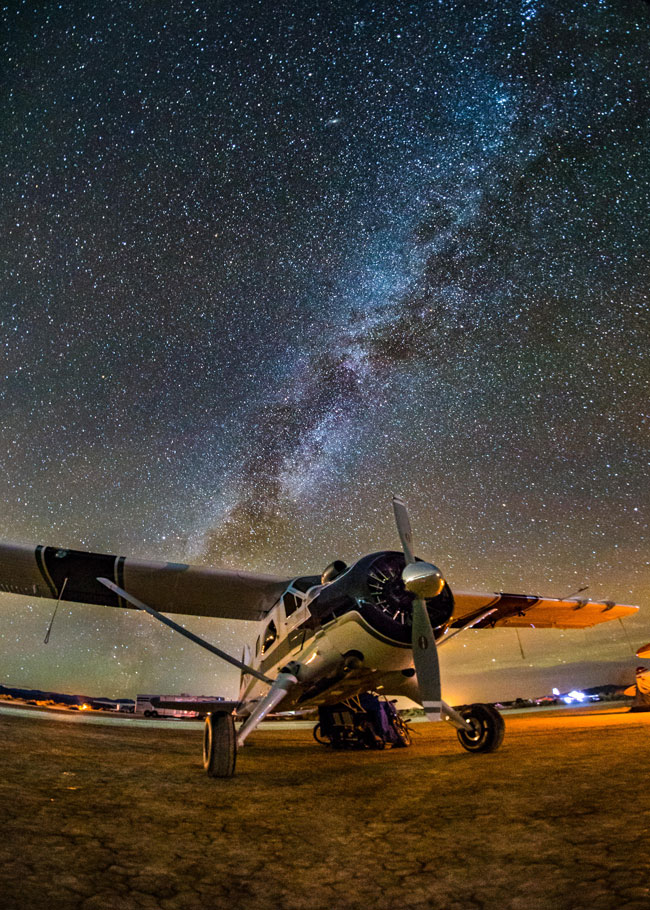 A Beaver and the MilkyWay at the High Sierra Fly-In