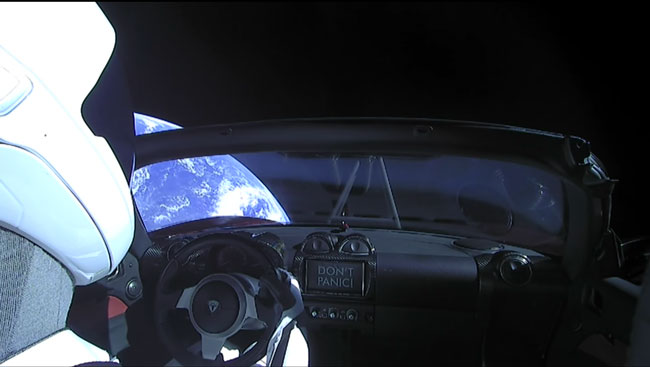 Starman in the Tesla Roadster
