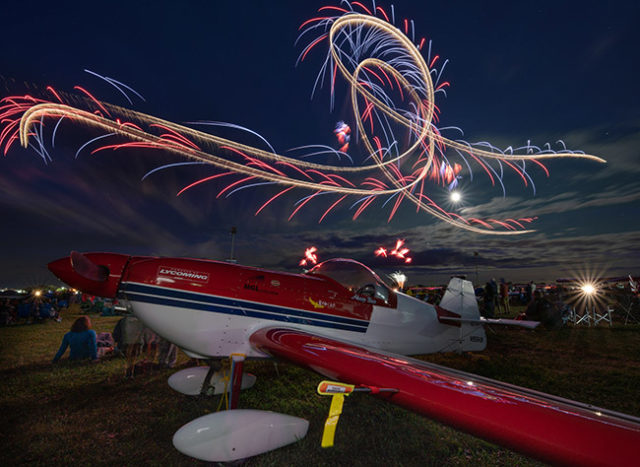 A long exposure captures the drama of the aerial display.