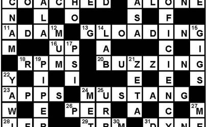 September 2018 Crossword Key