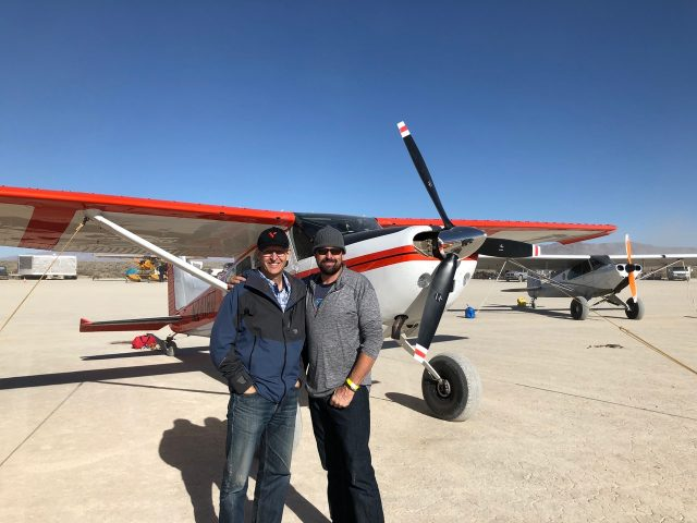 Marc Ausman and Rob Dehoney in front of Cessna 185
