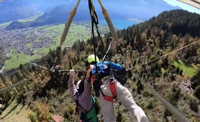 Hold On Or Die! Newbie Hang Glider Rider Goes Off Unharnessed!