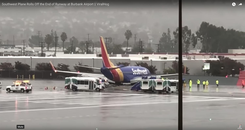 Southwest Airplane overruns runway.