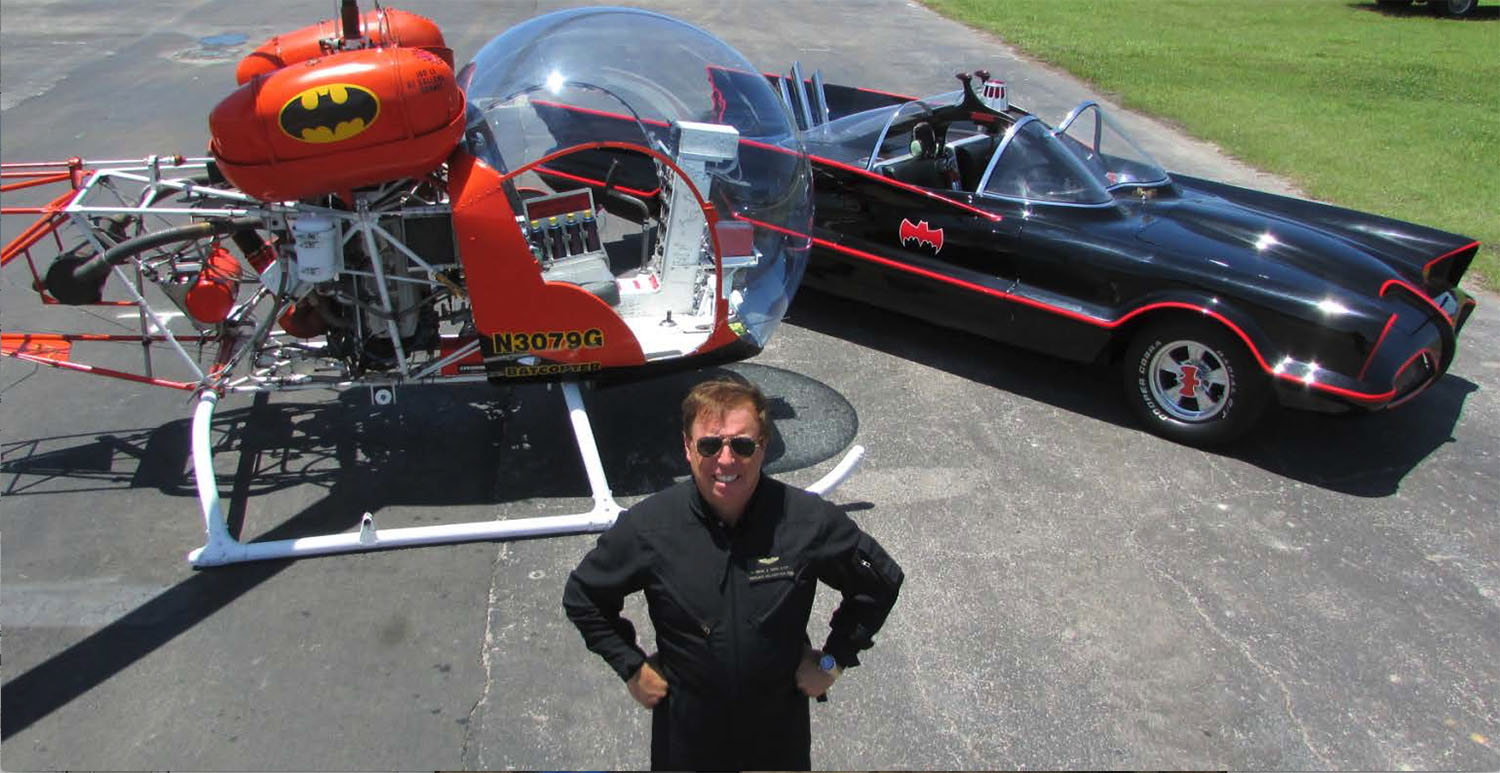 Eugene Nock with the original Batcopter and Batmobile.