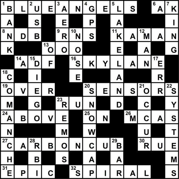 Plane & Pilot Crossword Key, July 2019