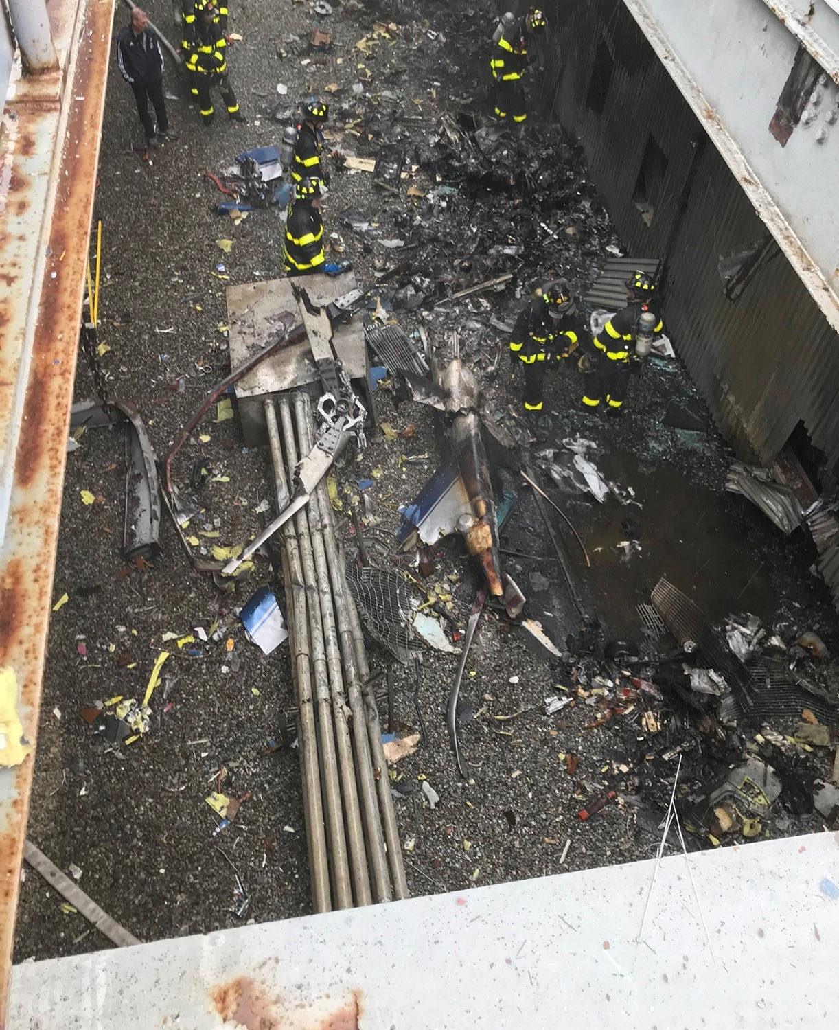 FDNY on the scene of a helicopter crash