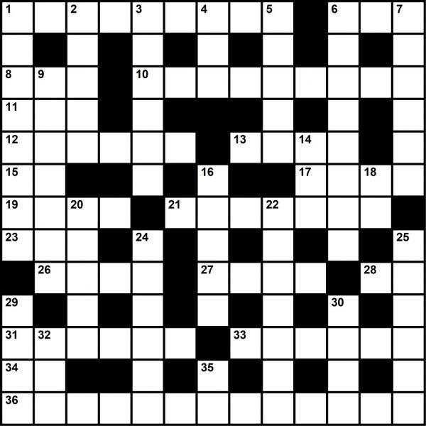 Crossword Puzzle, August 2019