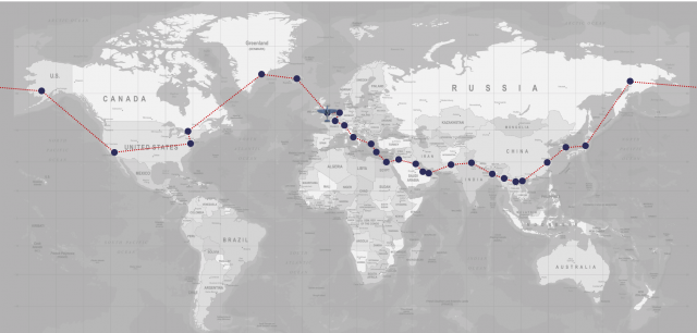 Map of the Spitfire's journey