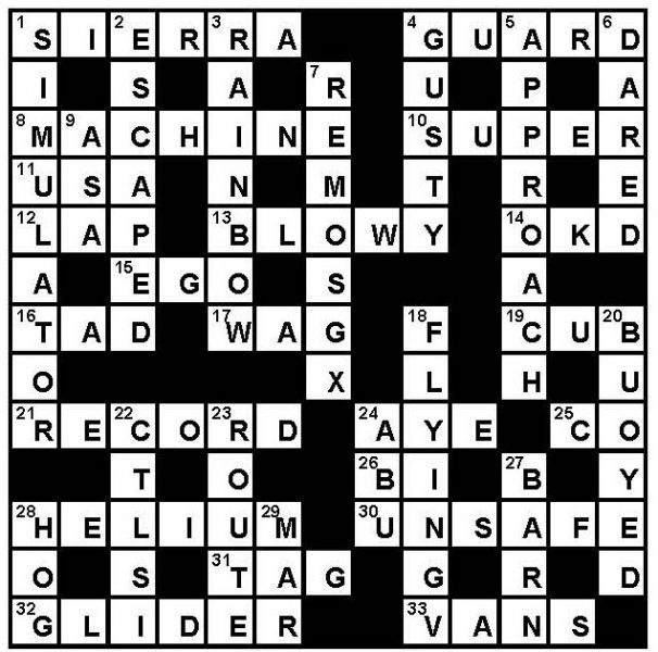 Crossword Key Septembe