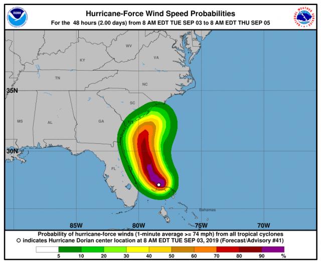 Hurricane Dorian Wind Speed Probabilities