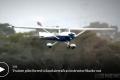 Student pilot landing a plane