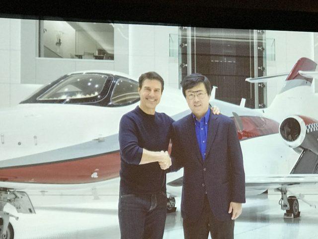 Tom Cruise and Honda Aircraft President and CEO Michimasa Fujino