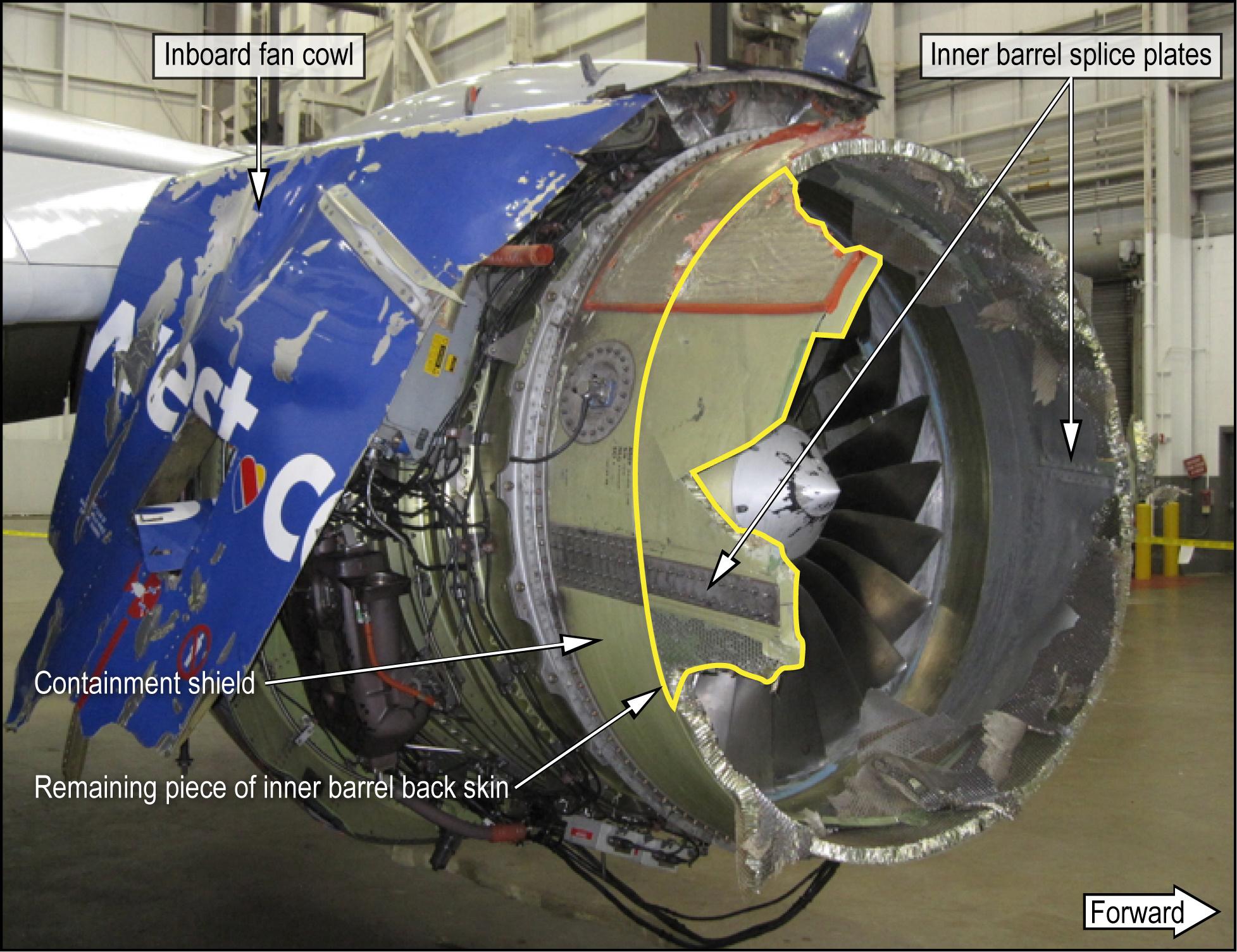 Inlet damage on Southwest Airlines Flight 1380