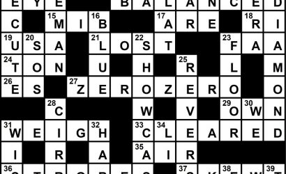 March 2020 Crossword Key