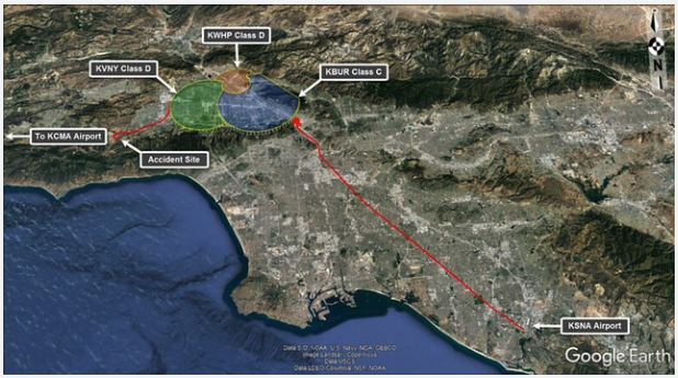 Radar/ADS-B Track of the helicopter that Kobe Bryant and eight others were on.