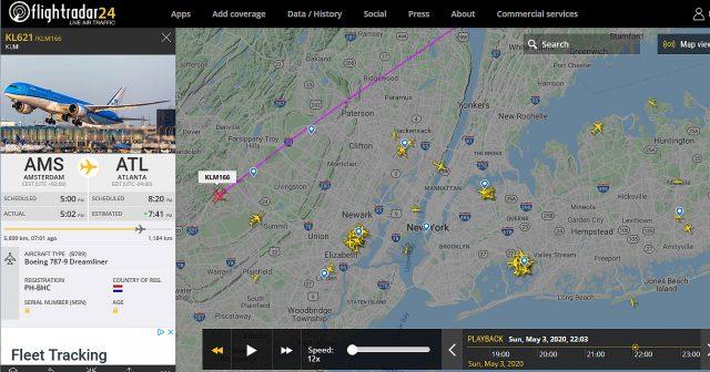 A screenshot from flightradar24 showing KLM flight KL 621