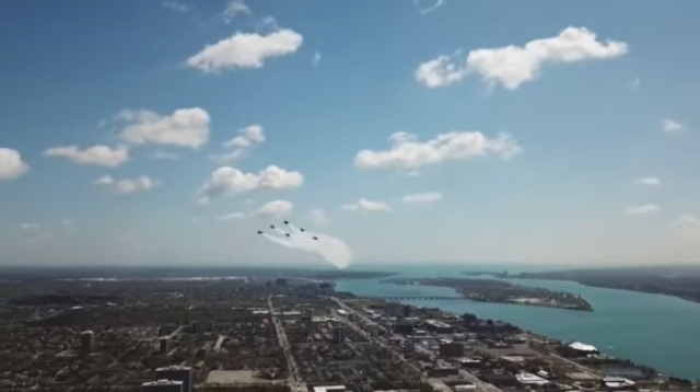The U.S. Navy Blue Angels had a close call with a drone.
