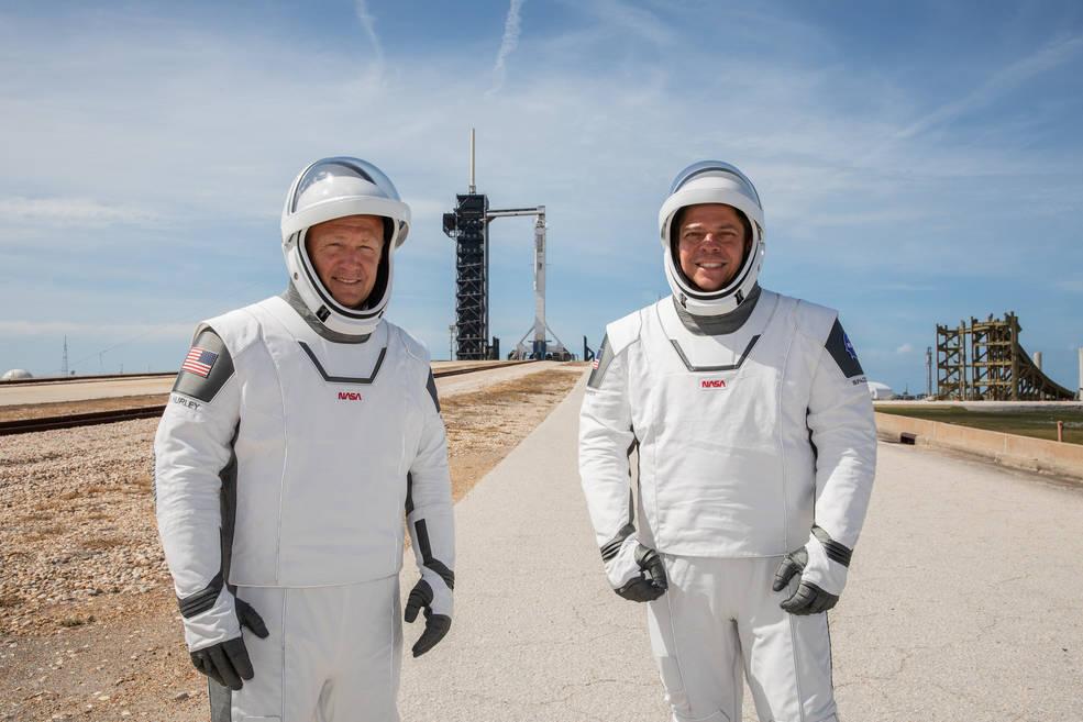 NASA astronauts Douglas Hurley (left) and Robert Behnken (right)