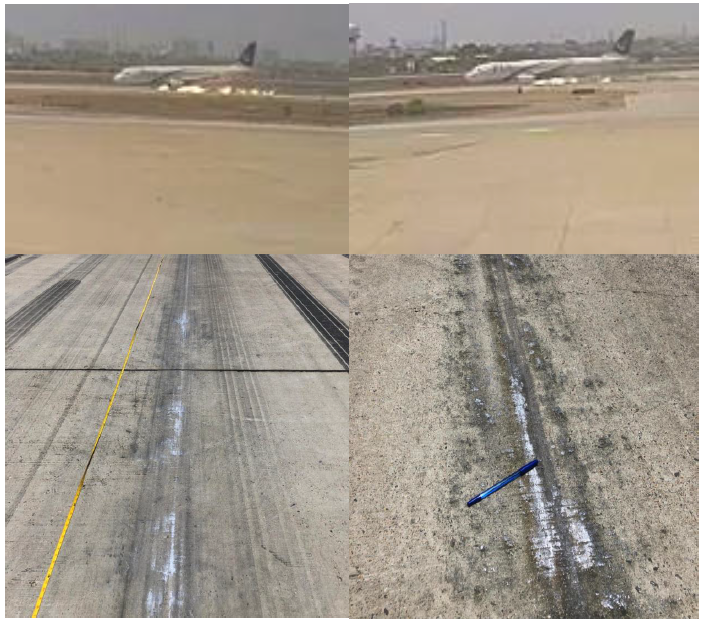 CCTV screen capture images and photographs of the gear up landing damage to the runway from the preliminary report.