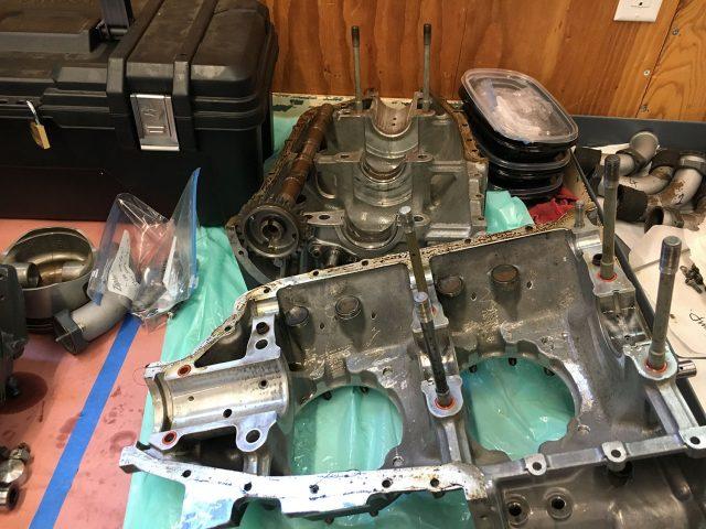 Fig. 2 Case split, crankshaft out, cam still in place.