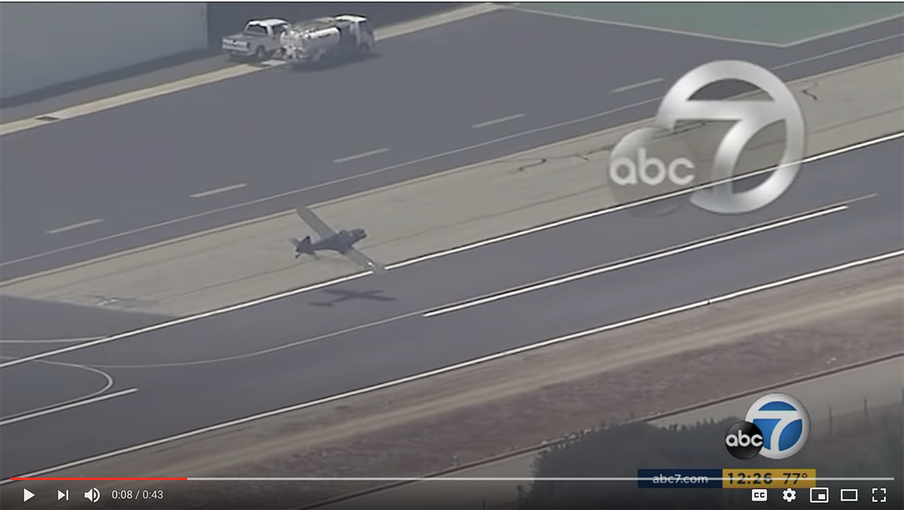 A screencap of the attempted landing captured on video by ABC 7.