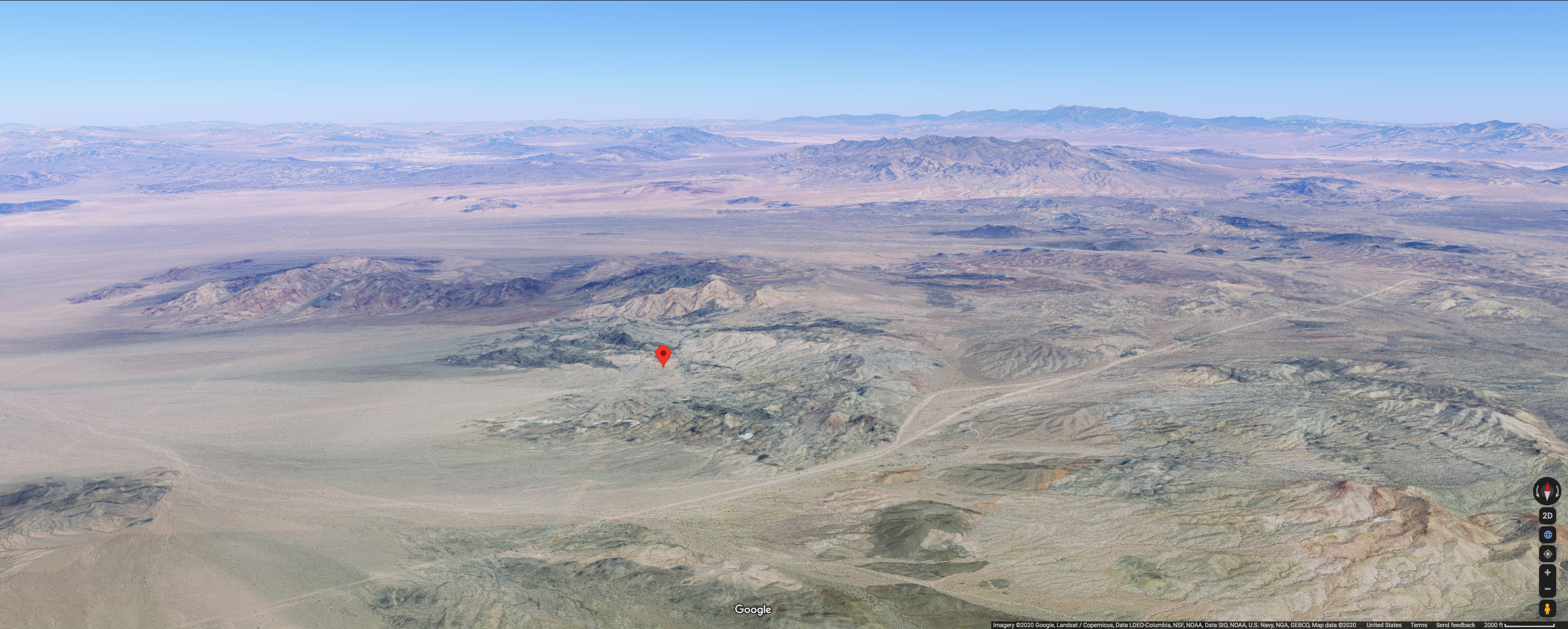 The spot in the Mojave Desert 20 miles north of Baker, California, where a Bonanza F-33 was found eight months after going missing.