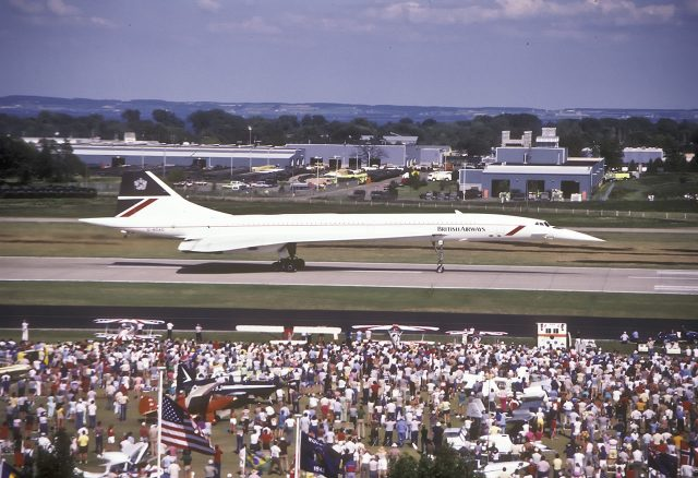 Everyone loves the airplanes, and some are more memorable than others. Concorde on the runway at OSH in an undated photo.