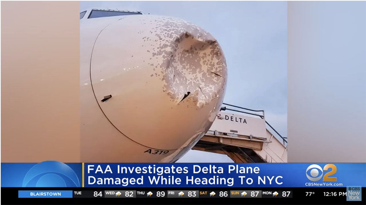 A screenshot of CBS New York's coverage of the damaged Delta Airlines Airbus A319.