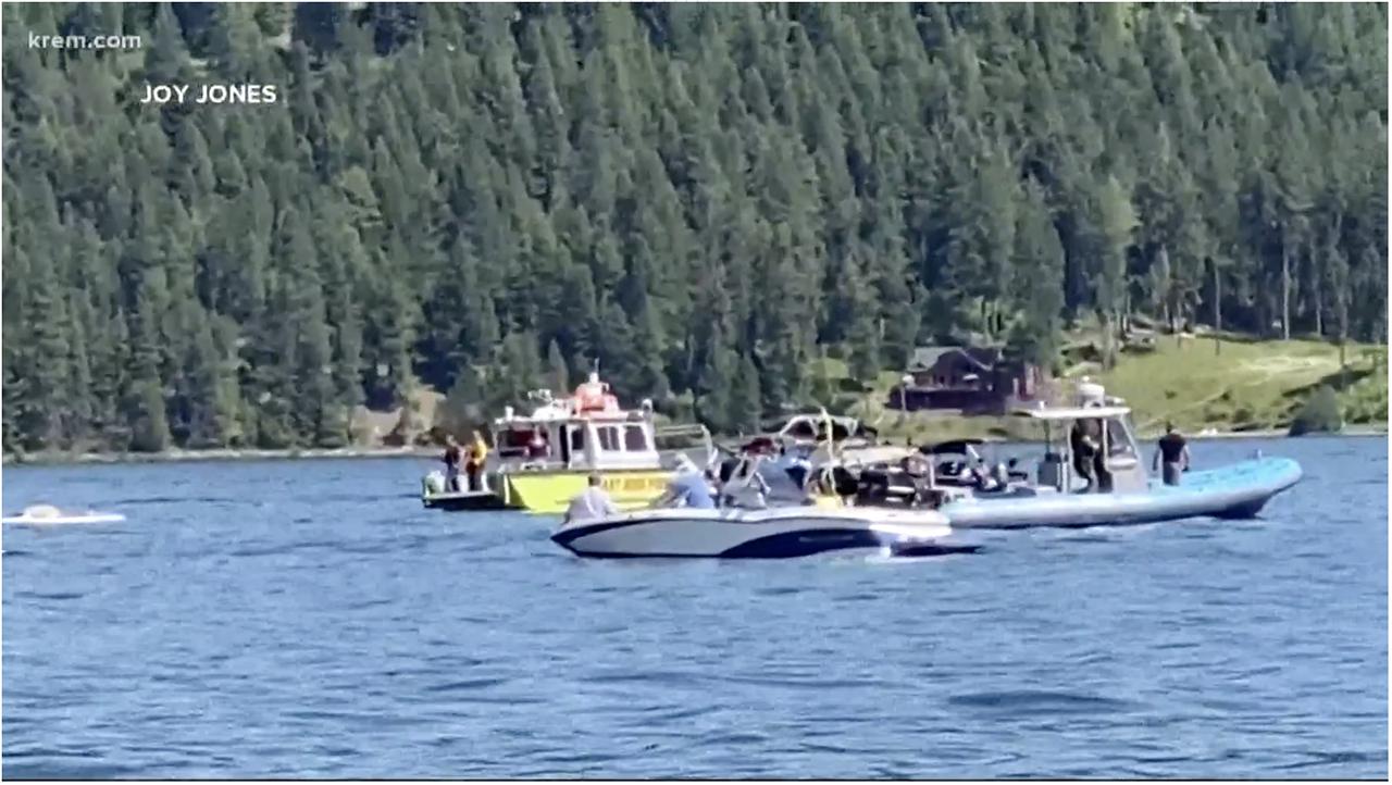 A screenshot of KREM's news coverage of the plane crash a Lake Coer d'Alene in Idaho.