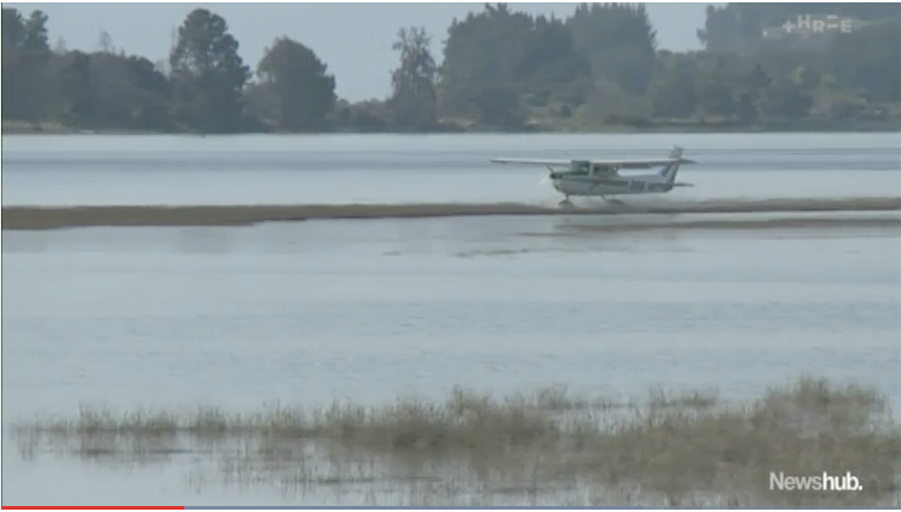 A screenshot from a video of a stranded Cessna 150.