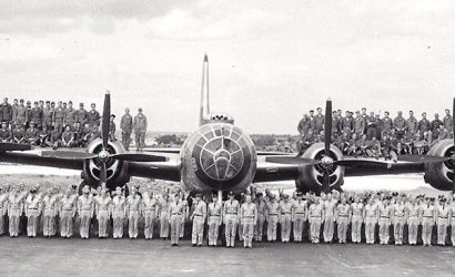 The 19th Bomb Group crew photographed with a B-29 Superfortress in 1951 on Kadena AFB in Okinawa, Japan. Photo courtesy of Wikimedia Commons