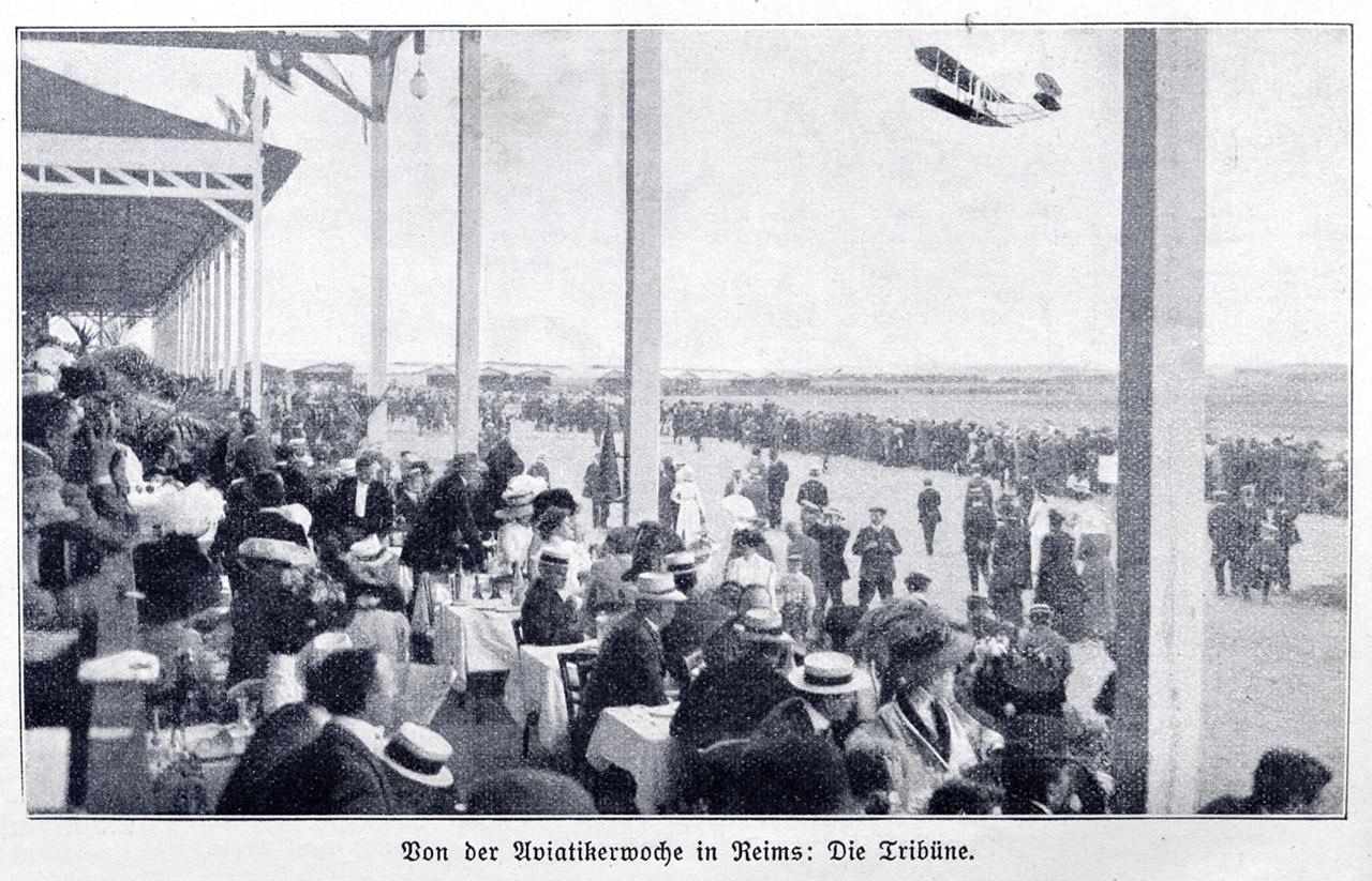 An aviation gathering in Reims, France, in 1909, less than six years after Kitty Hawk.