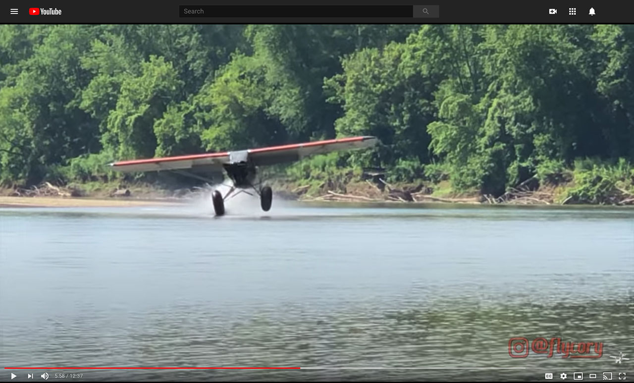 Video footage shows pilot Cory Robin hitting the water in his CubCrafters Carbon Cub.