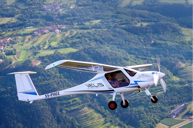 The Velis Electro is designed as a trainer. Its mission—to head out, fly for about an hour and head back to base. Photo courtesy of Pipistrel