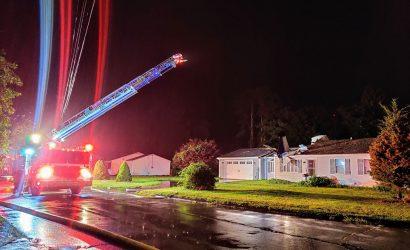 Plane crashes onto house in Groton, Connecticut. Photo courtesy of Groton Police Department
