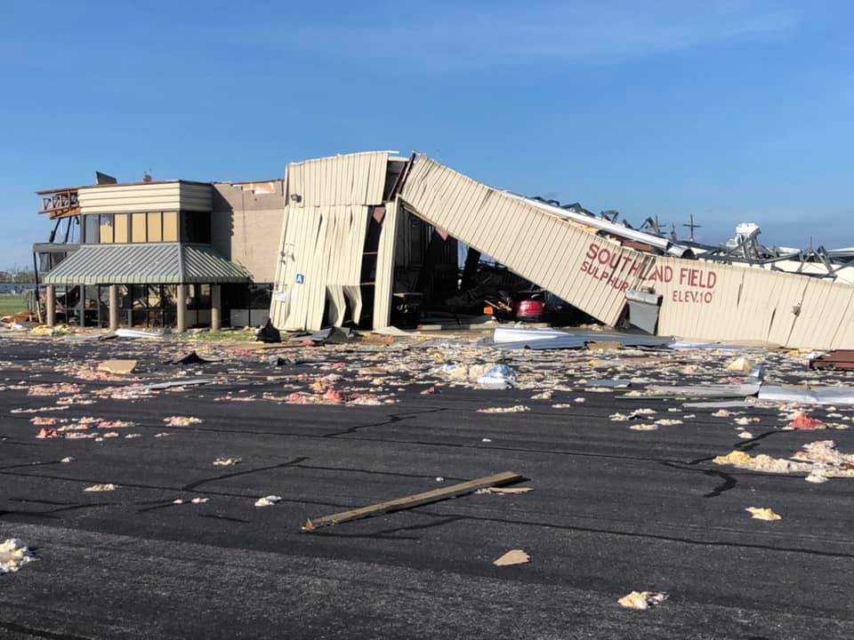 Hurricane Laura damage, Southland Field. Photo by Luc Williams